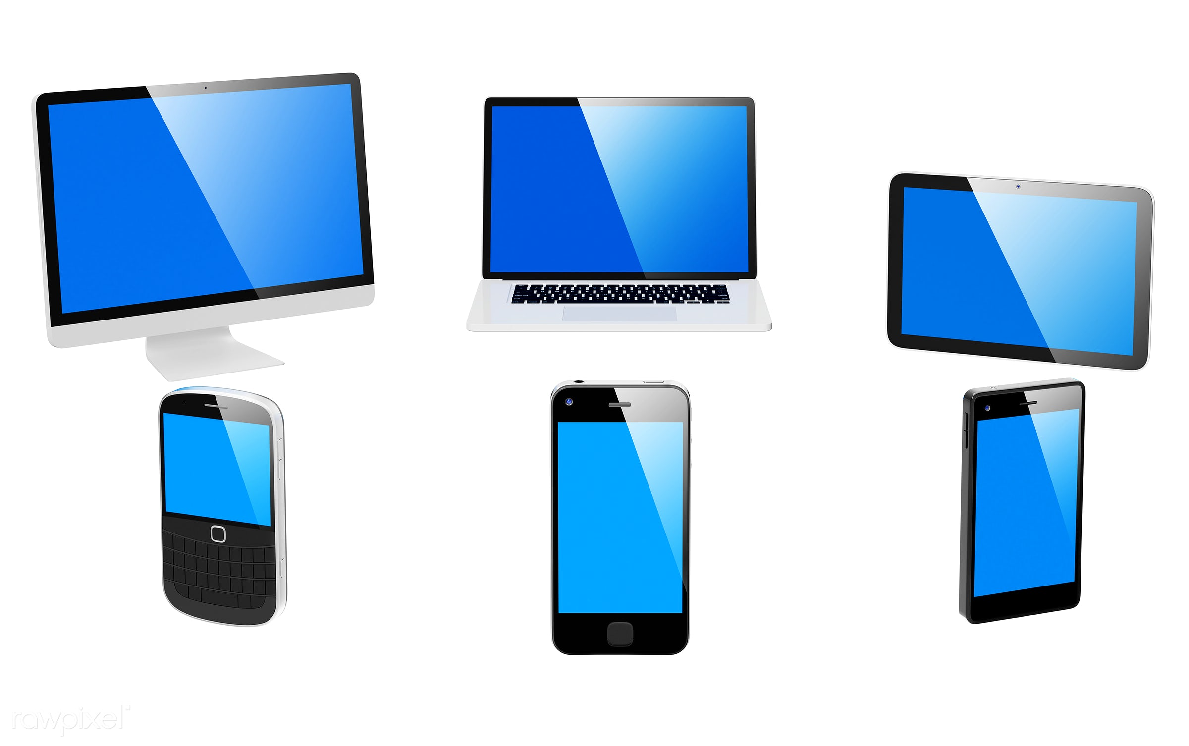 Three dimensional image of digital devices - mock up, phone, 3d, background, blank space, blue, cellphone, communication,...