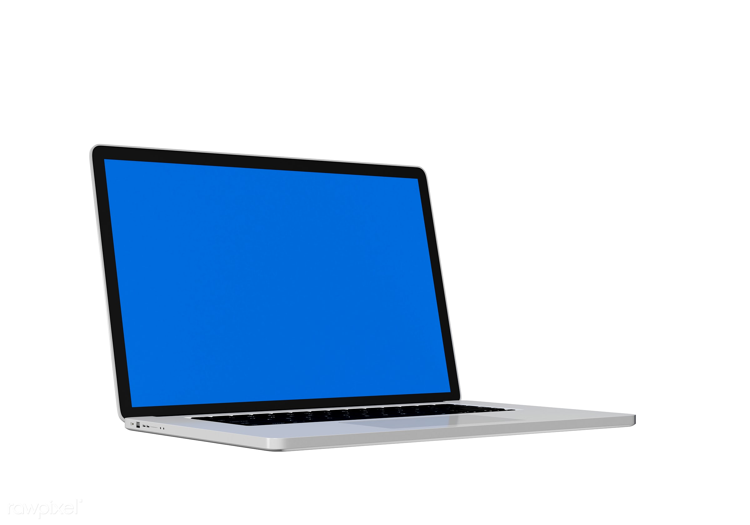Three dimensional image of laptop - notebook, 3d, background, blank space, blue, communication, computer, connect,...