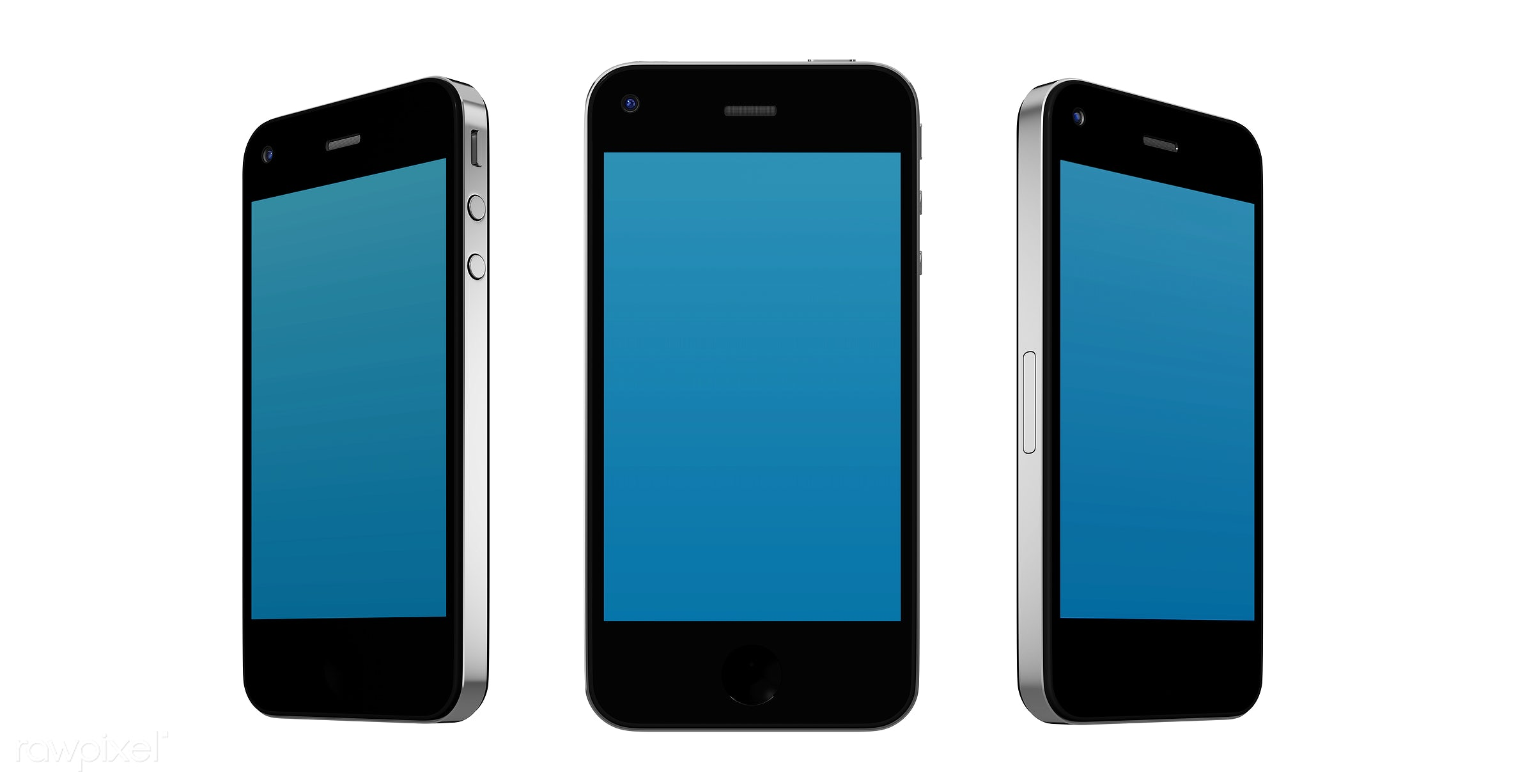 Three dimensional image of mobile phone mockup - digital, 3d, background, blank space, blue, cellphone, communication,...
