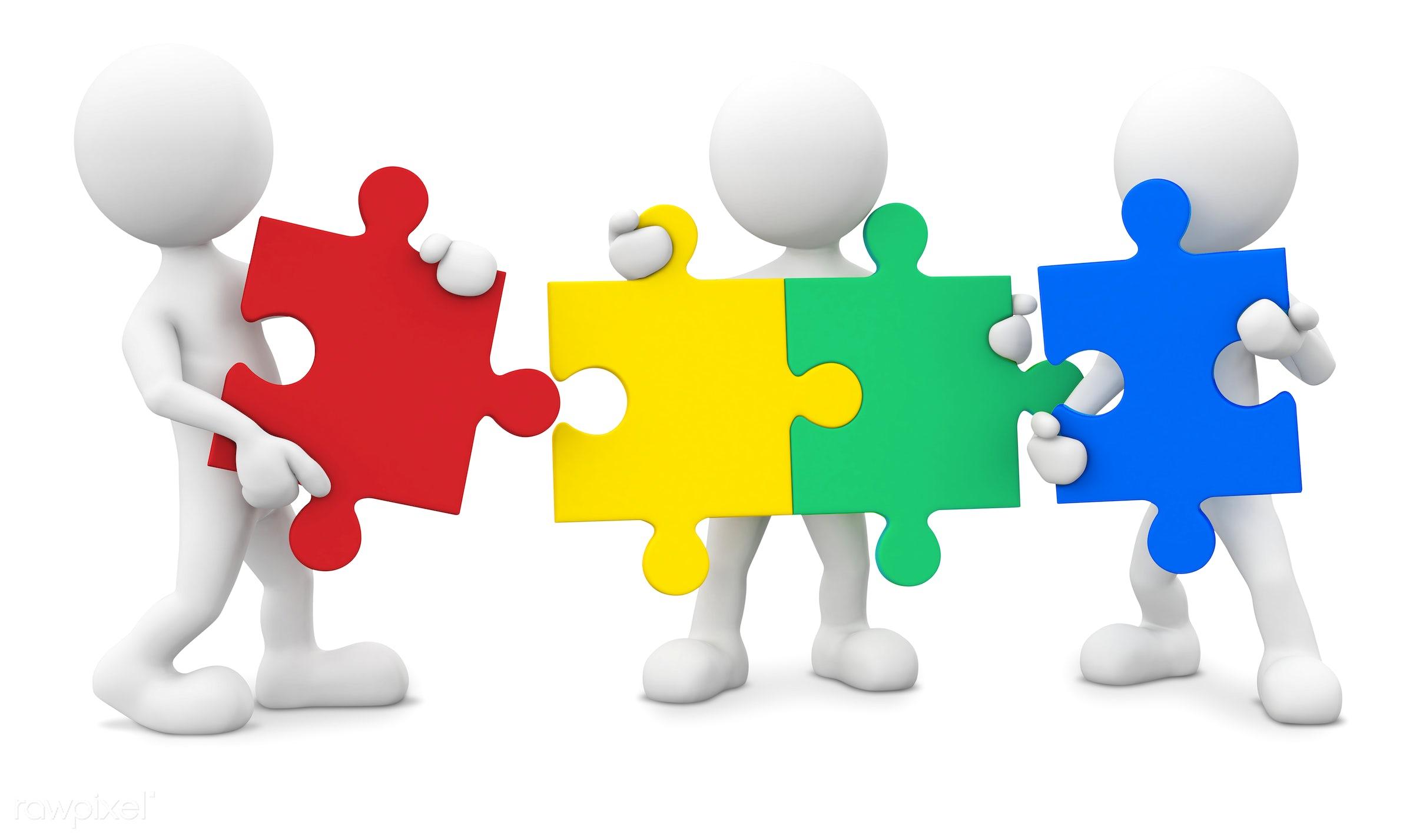 Three dimensional men with jigsaw pieces as teamwork. - 3d, 3d man, avatar, blank, brainstorm, businesnee, character,...