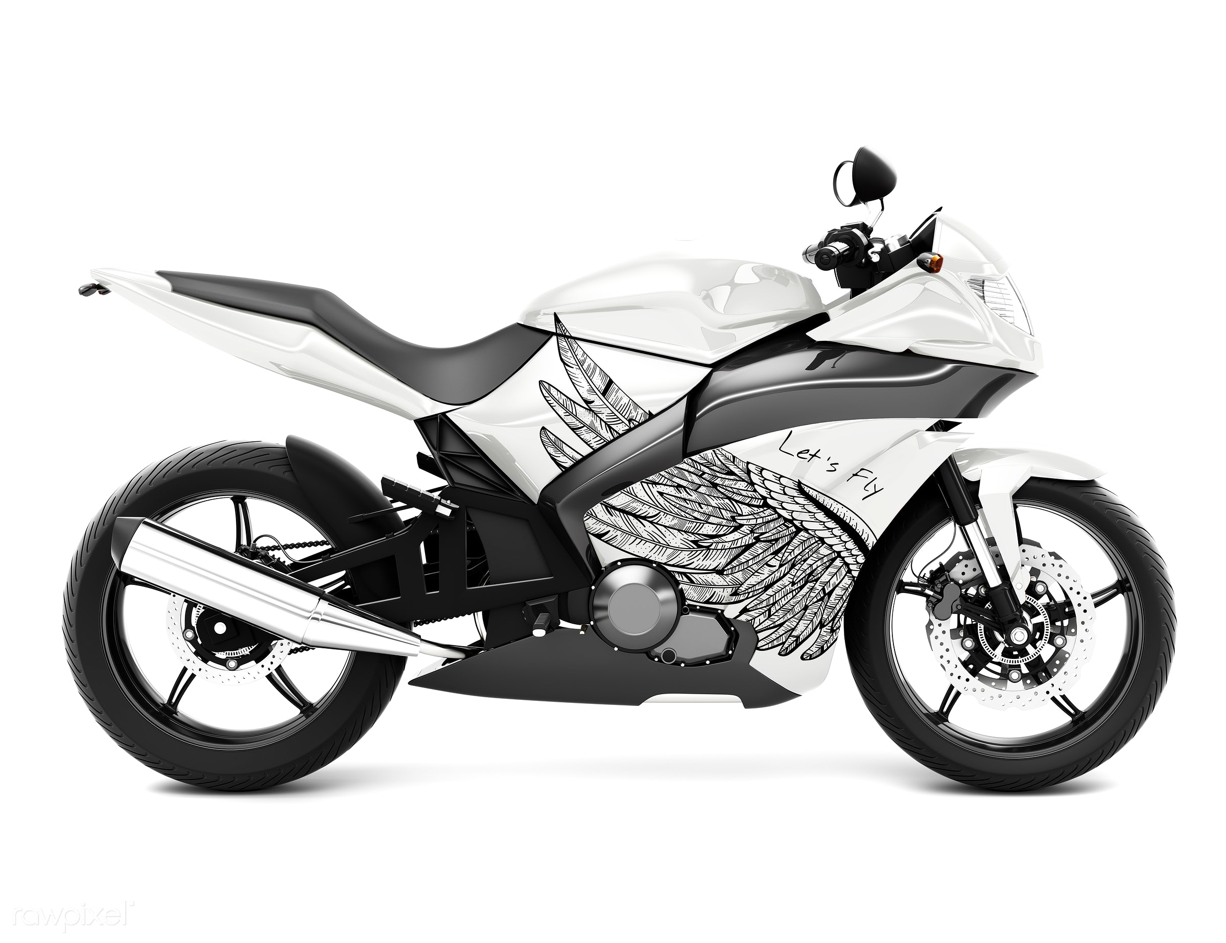 Three dimensional image of motor bike - motorcycle, bike, 3d, automobile, automotive, cool, graphic, holiday, illustration,...