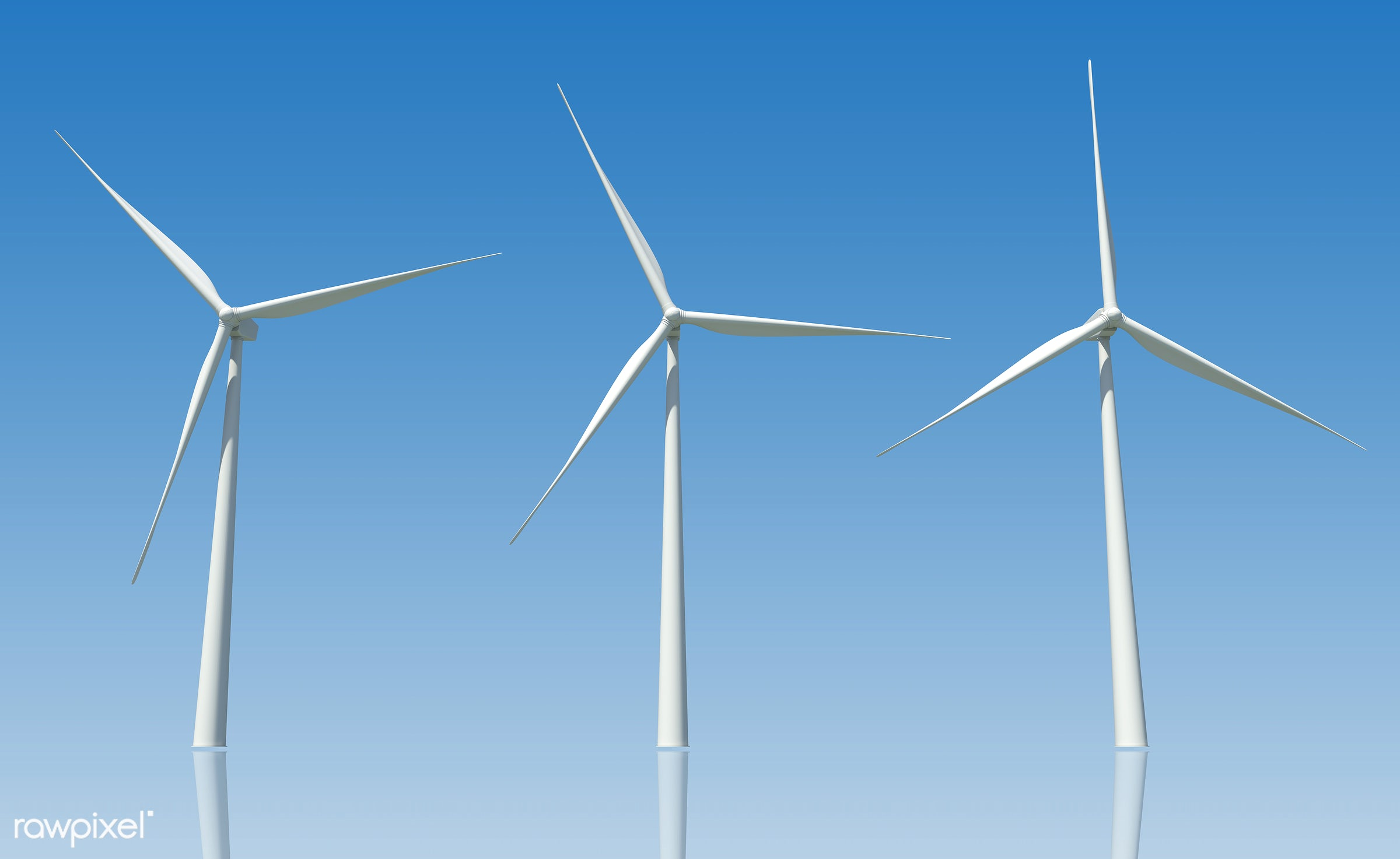 Three dimensional image of wind turbines - 3d, alternative, electric, electricity, energy, environmental, equipment,...