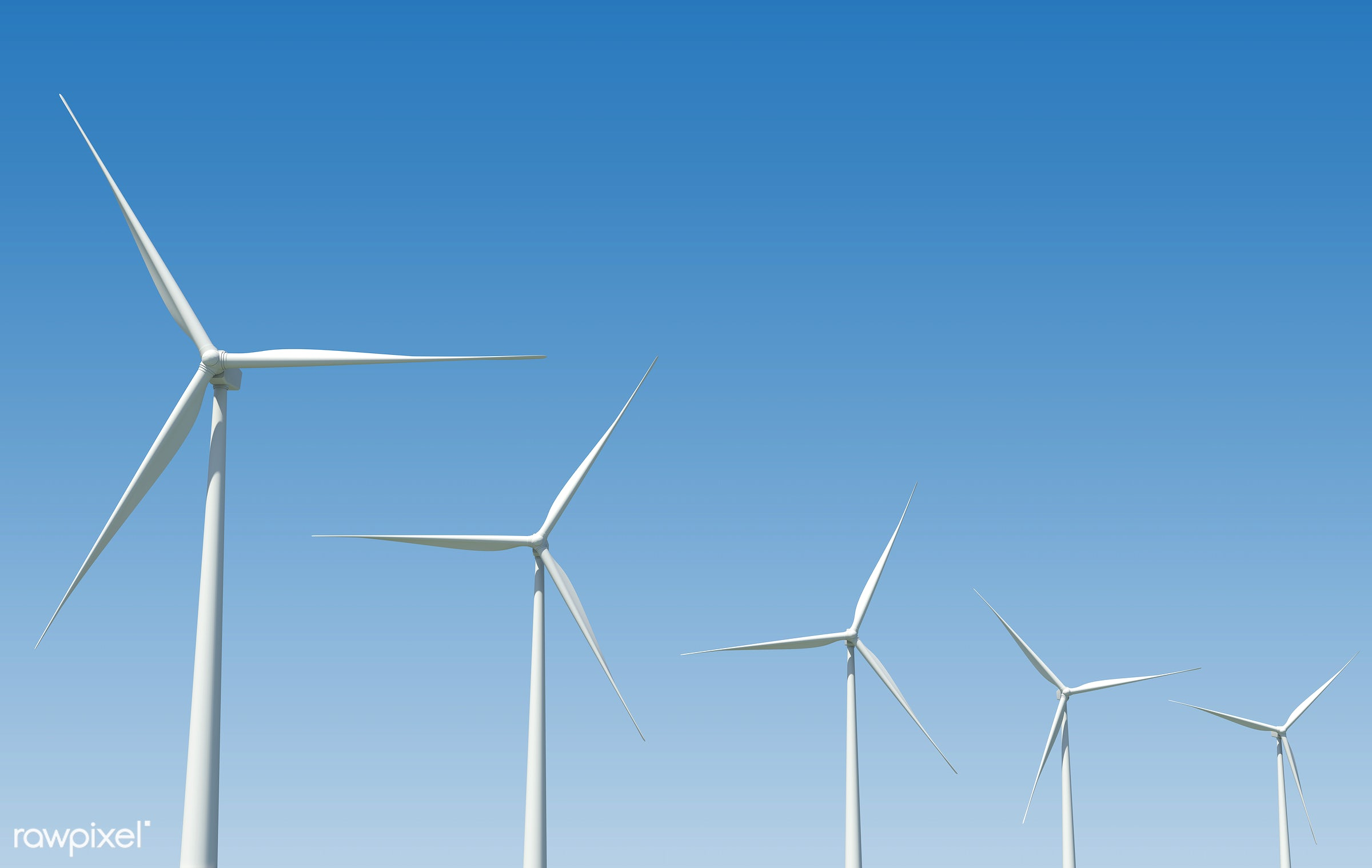 Three dimensional image of wind turbines - electricity, 3d, alternative, electric, energy, environmental, equipment,...