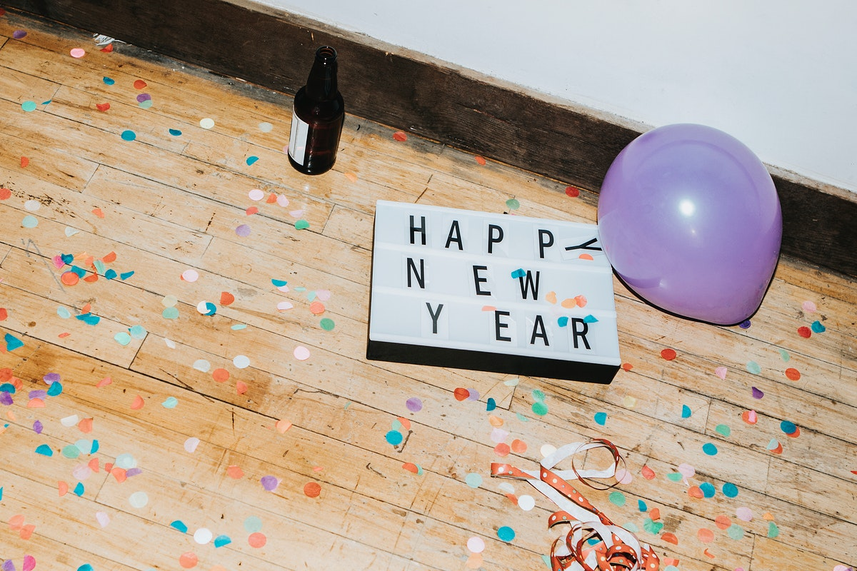 Happy new year sign at a party
