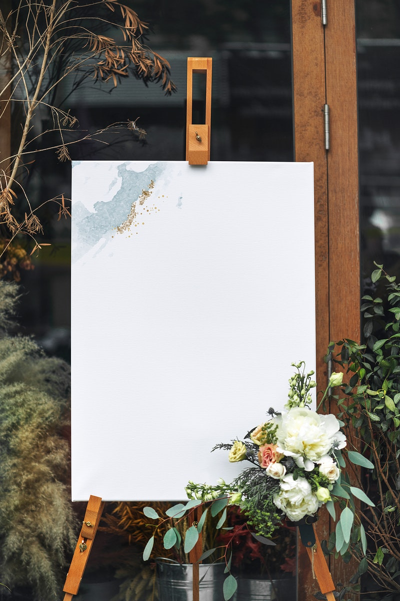 A craft painting on a canvas standing on a easel mockup