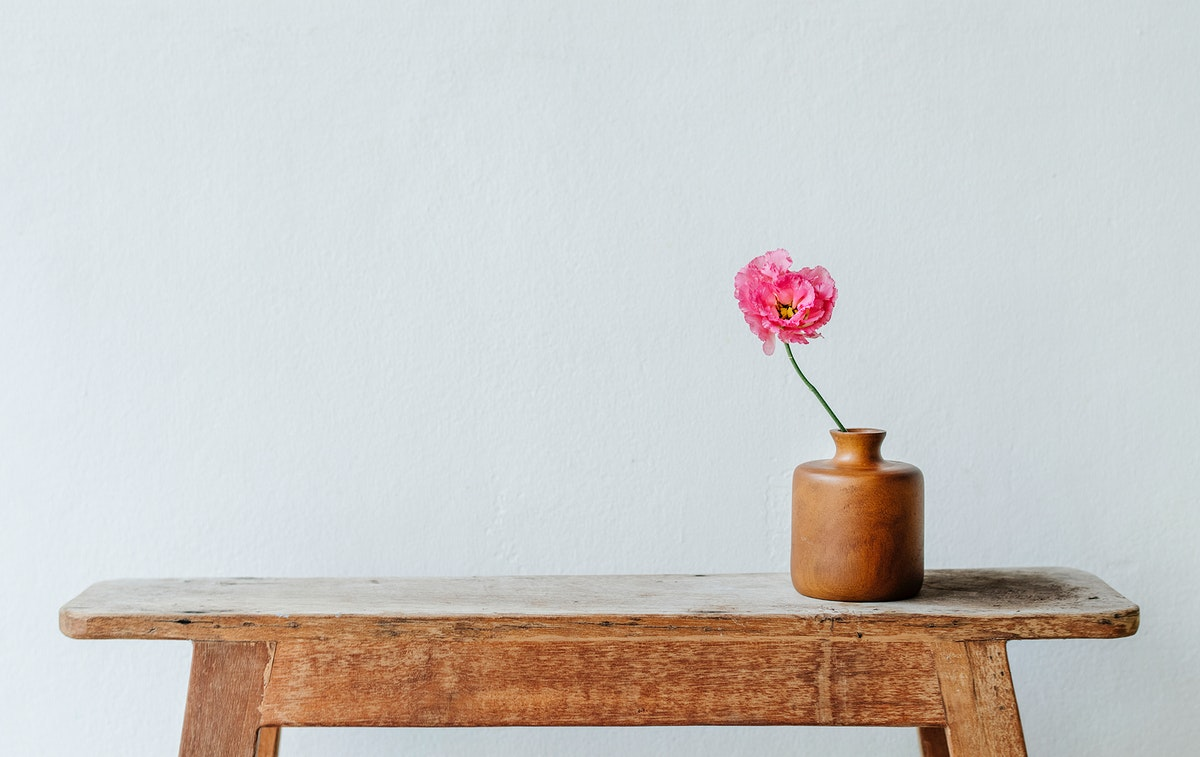 Pink peony in a vase by the wall