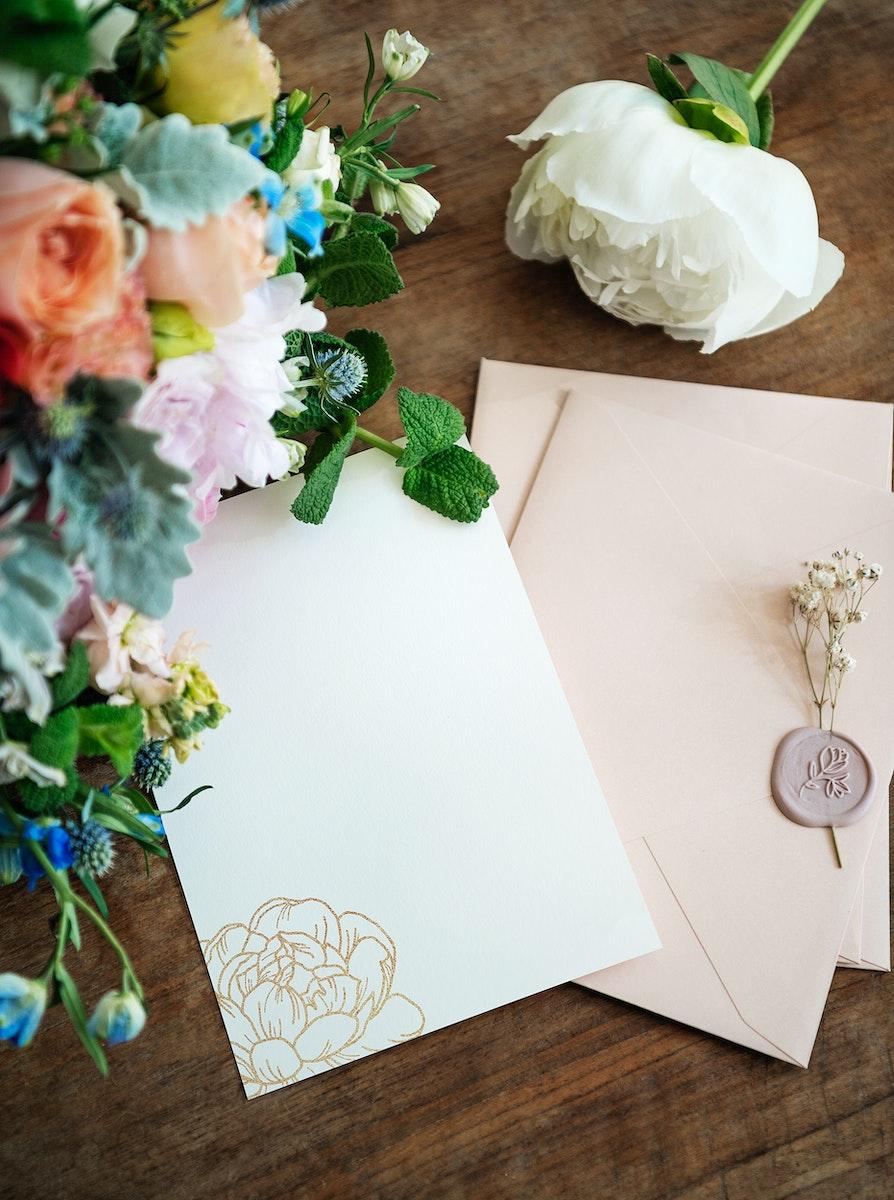 Colorful floral envelope mockup  design
