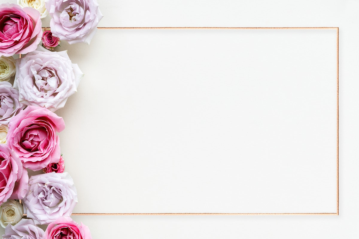 Golden frame with blooming avalanche roses