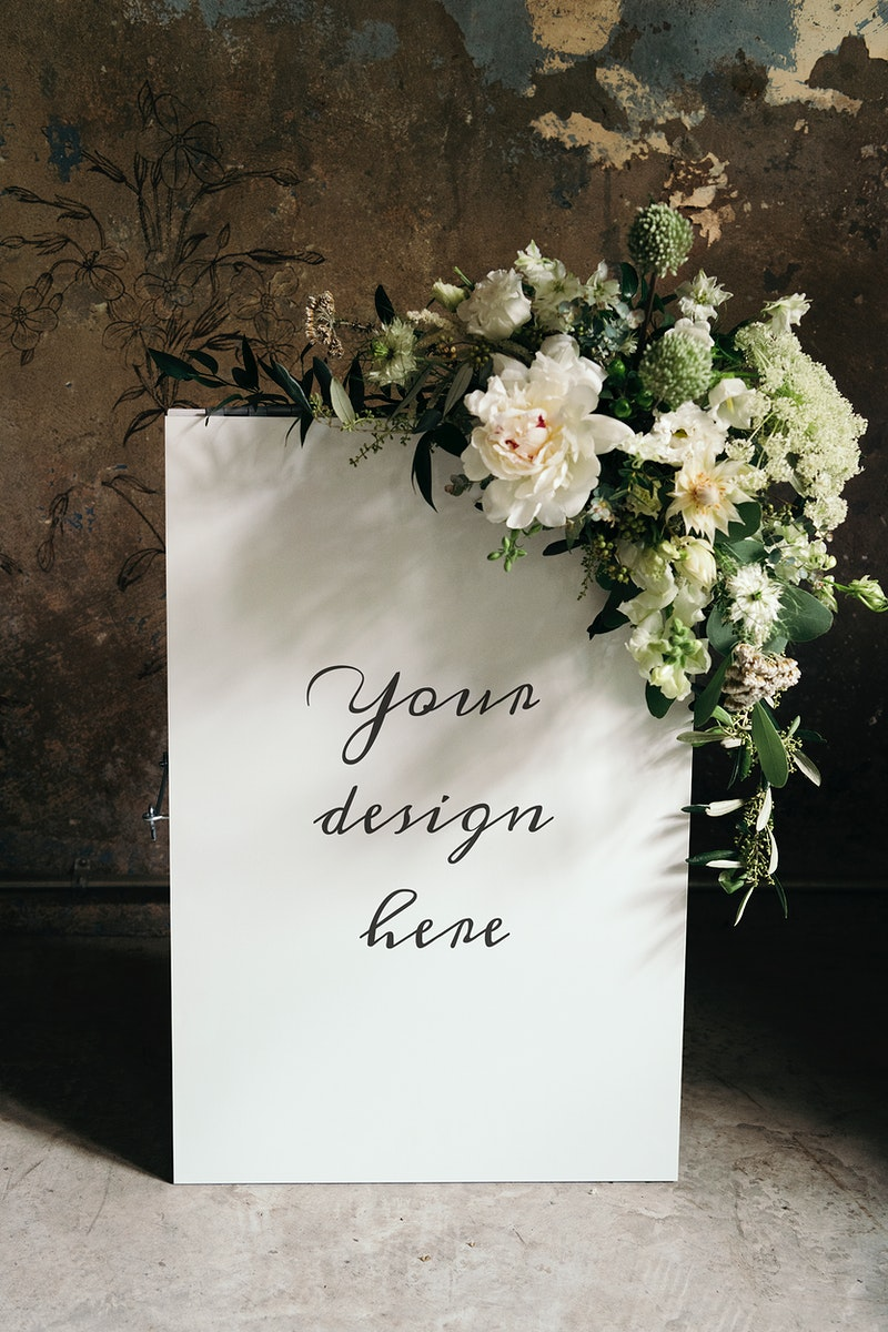 Beautiful white bouquet with a white poster template
