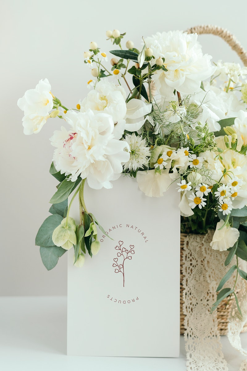 Basket of white flowers with card mockup