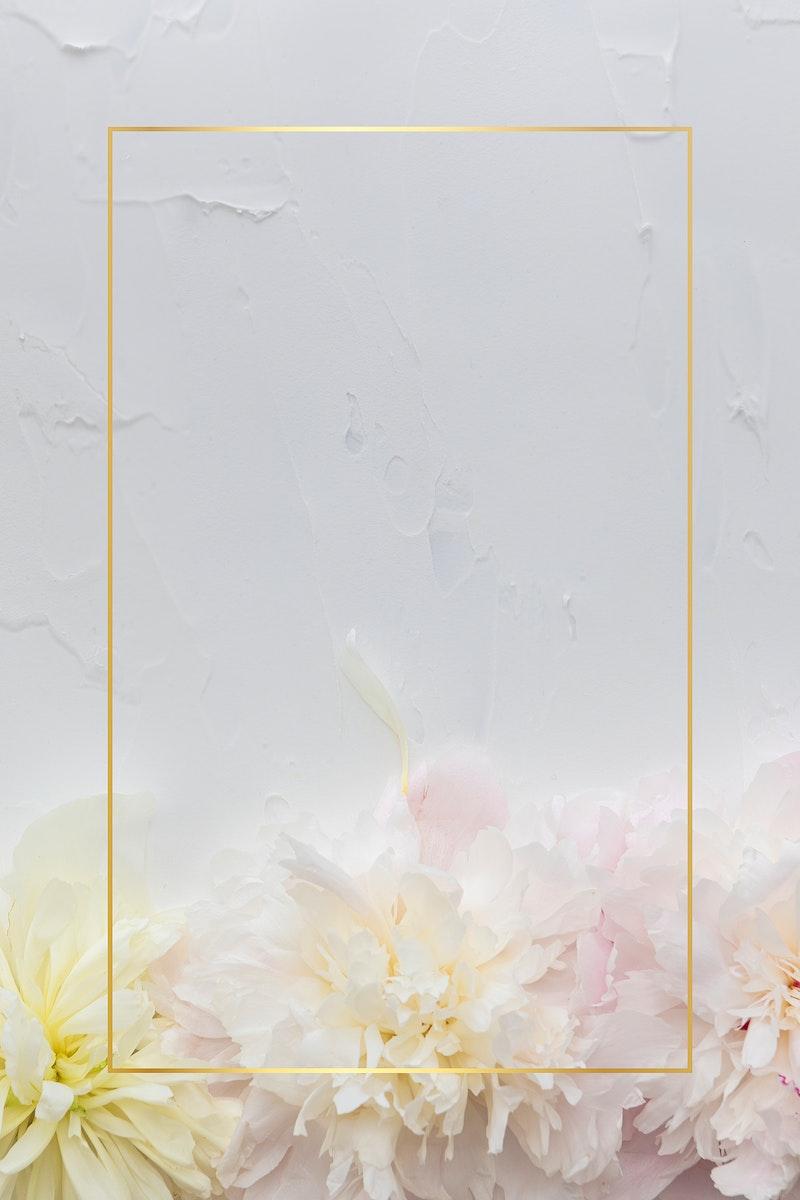 Blank beautiful flowers frame mockup