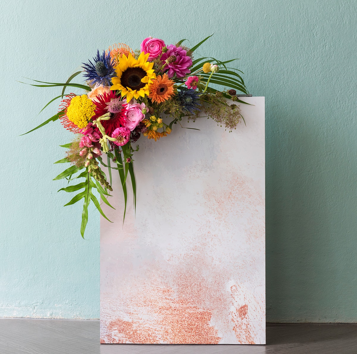 Blank blooming floral board mockup design