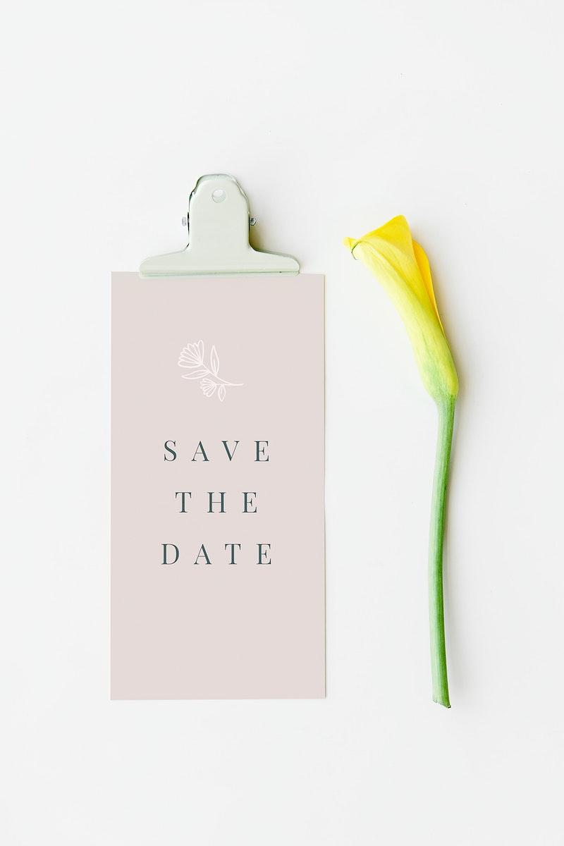 Pink card mockup by a yellow calla lily