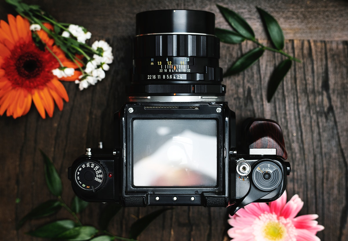 Analog camera screen mockup surrounded by flowers