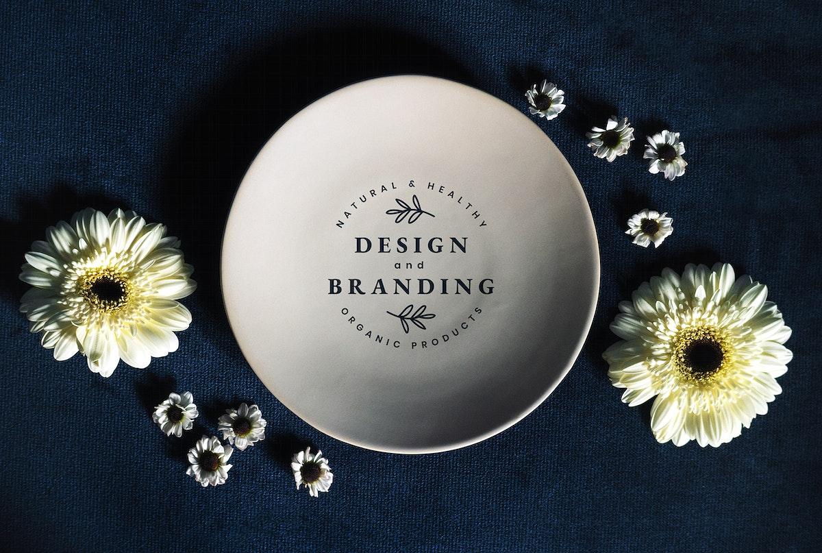 Floral design and branding plate mockup