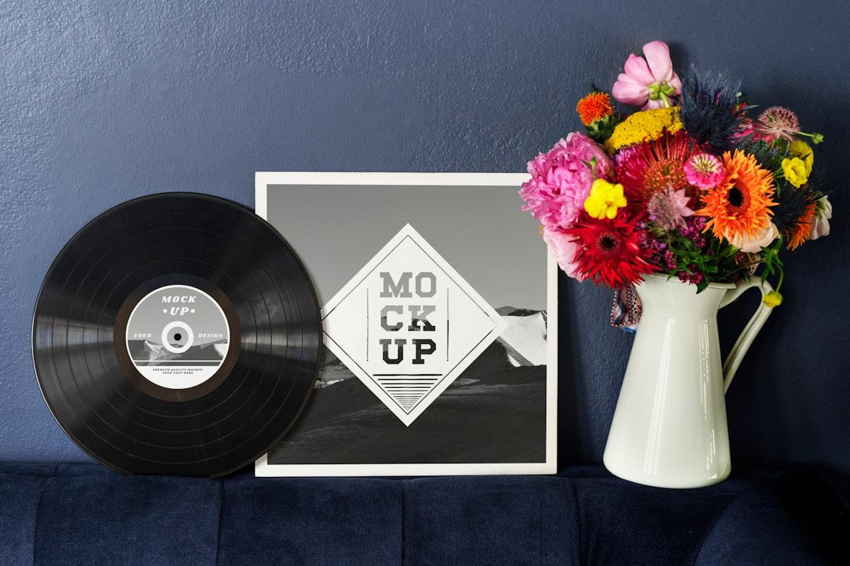 Retro black vinyl cover mockup