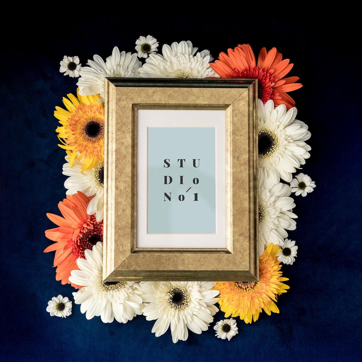 Flowers surrounding a photo frame mockup