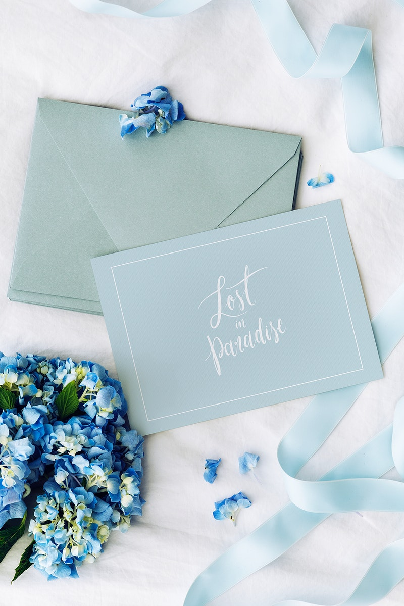 Blue envelope and card mockup with blue hydrangea