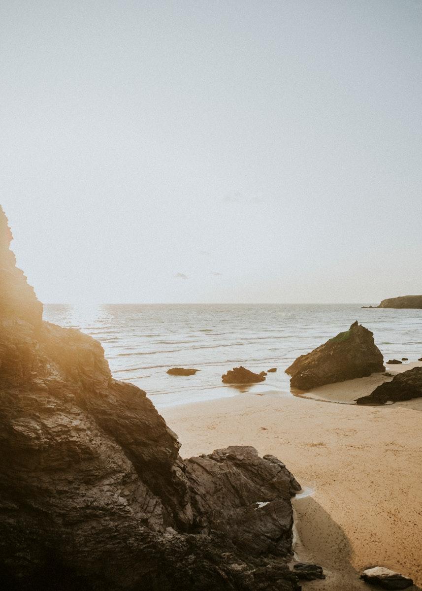 Sunny day at the rocky beach