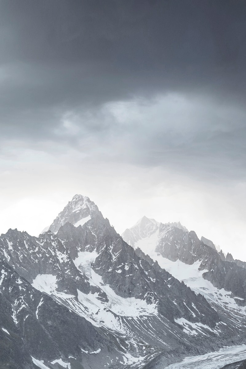 Chamonix Alps in France covered in snow