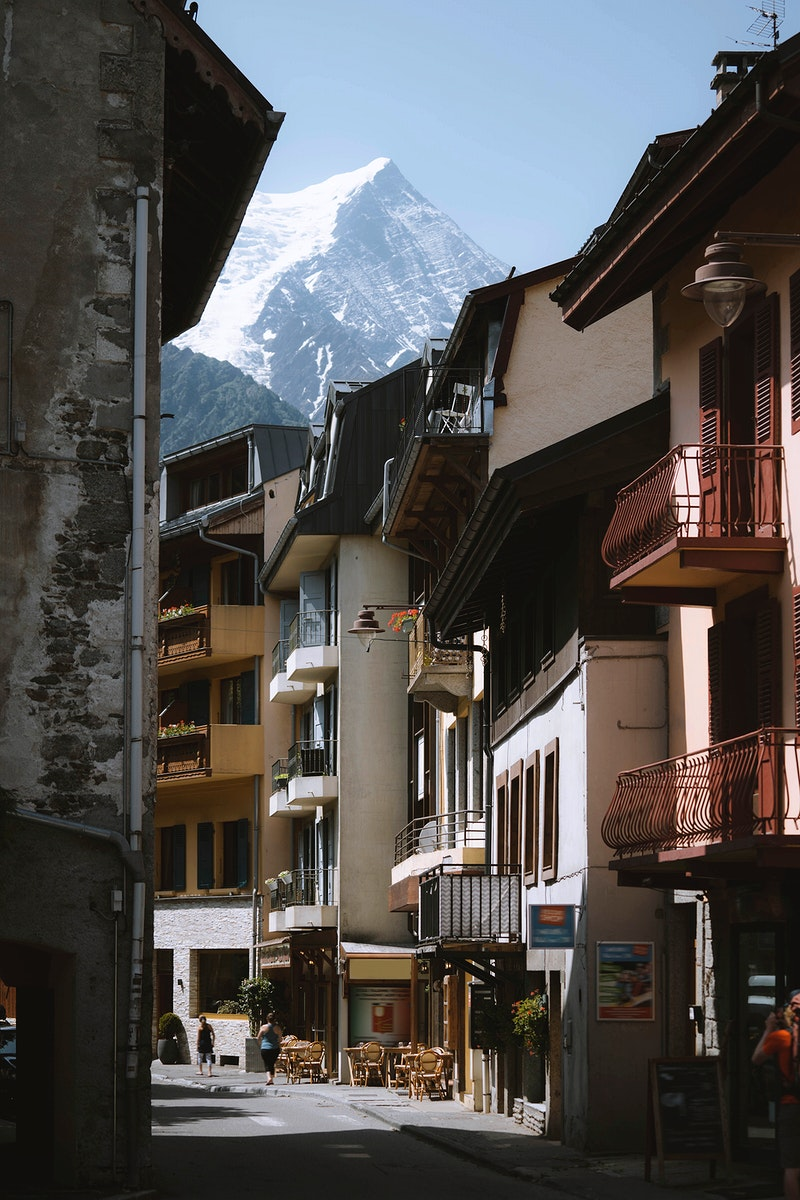 Chamonix Alps in France overlooking a residential street