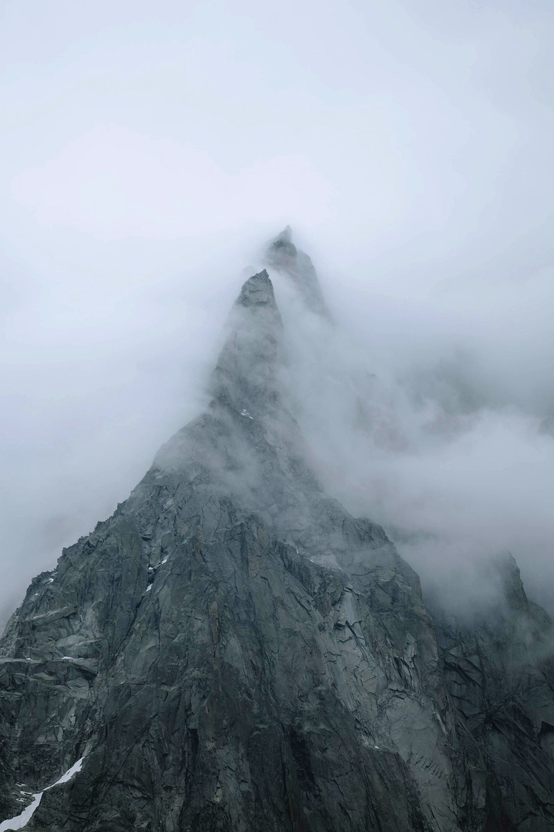 Chamonix Alps in France covered in heavy fog