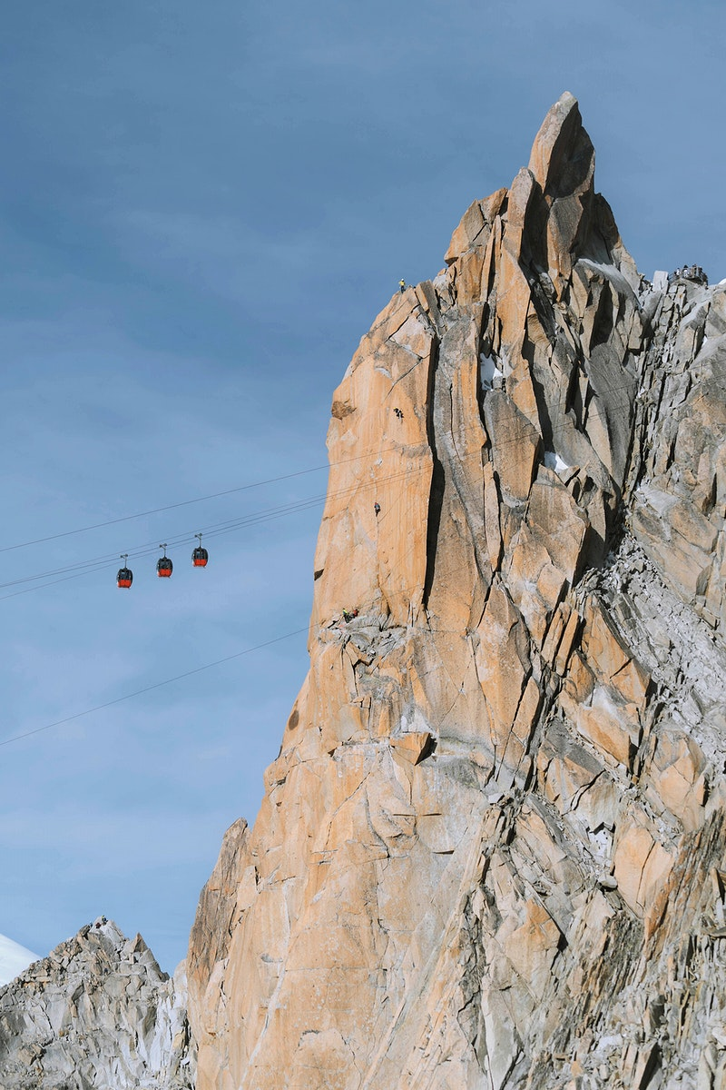Cable car line passing through Chamonix Alps in France