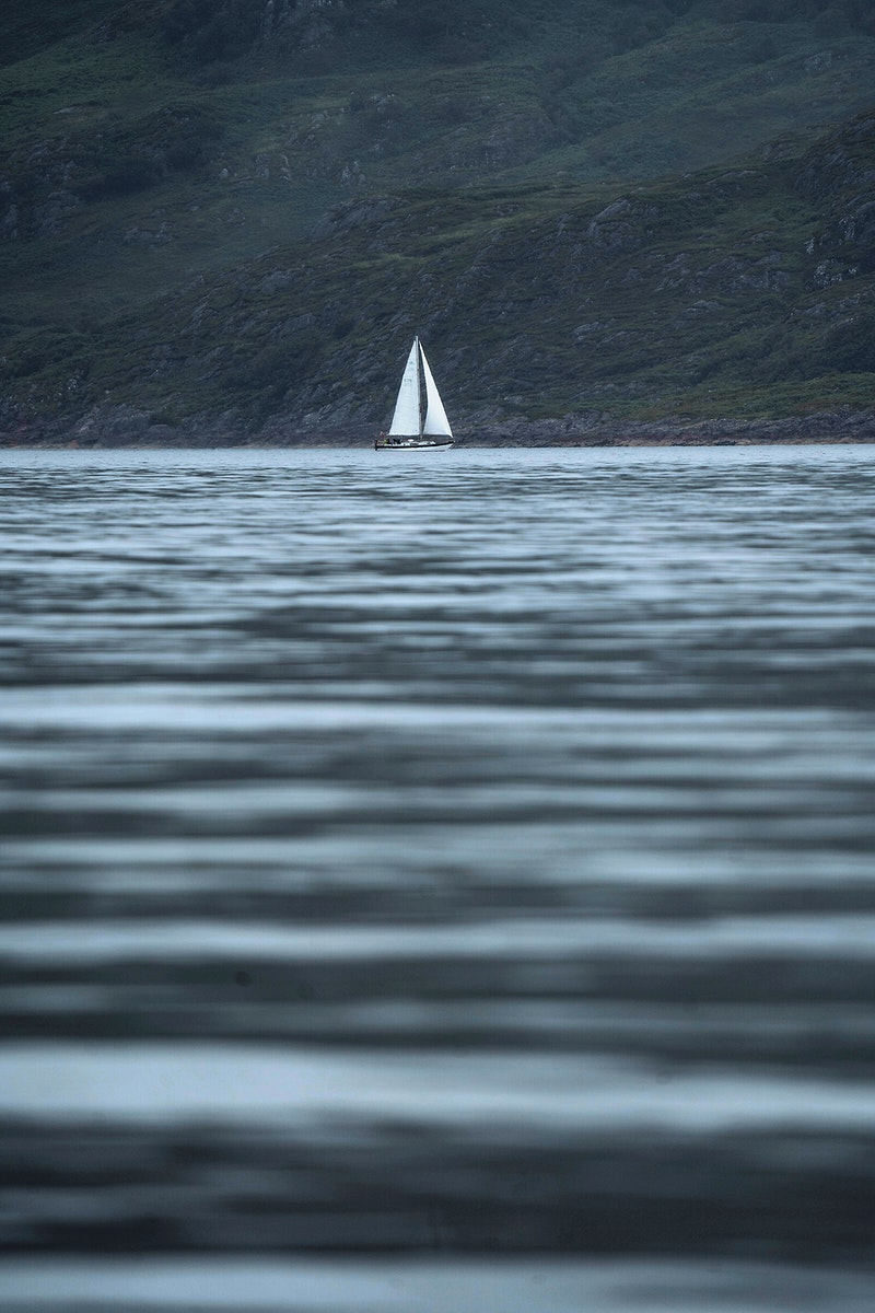 Boat spotted from Mull in Scotland