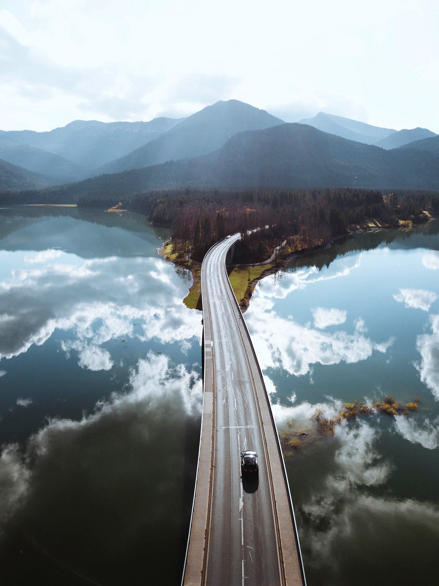 Drone shot of bridge over Sylvenstein Dam, Germany