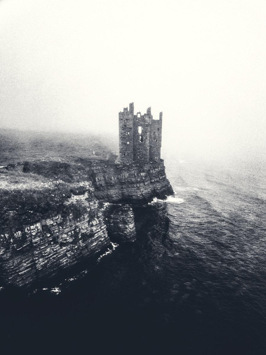 Misty view of Keiss Castle, Scotland