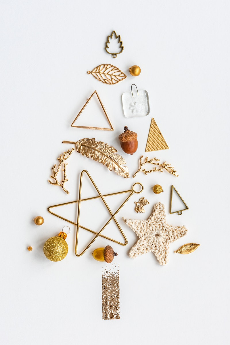 Festive Christmas ornaments on a white background