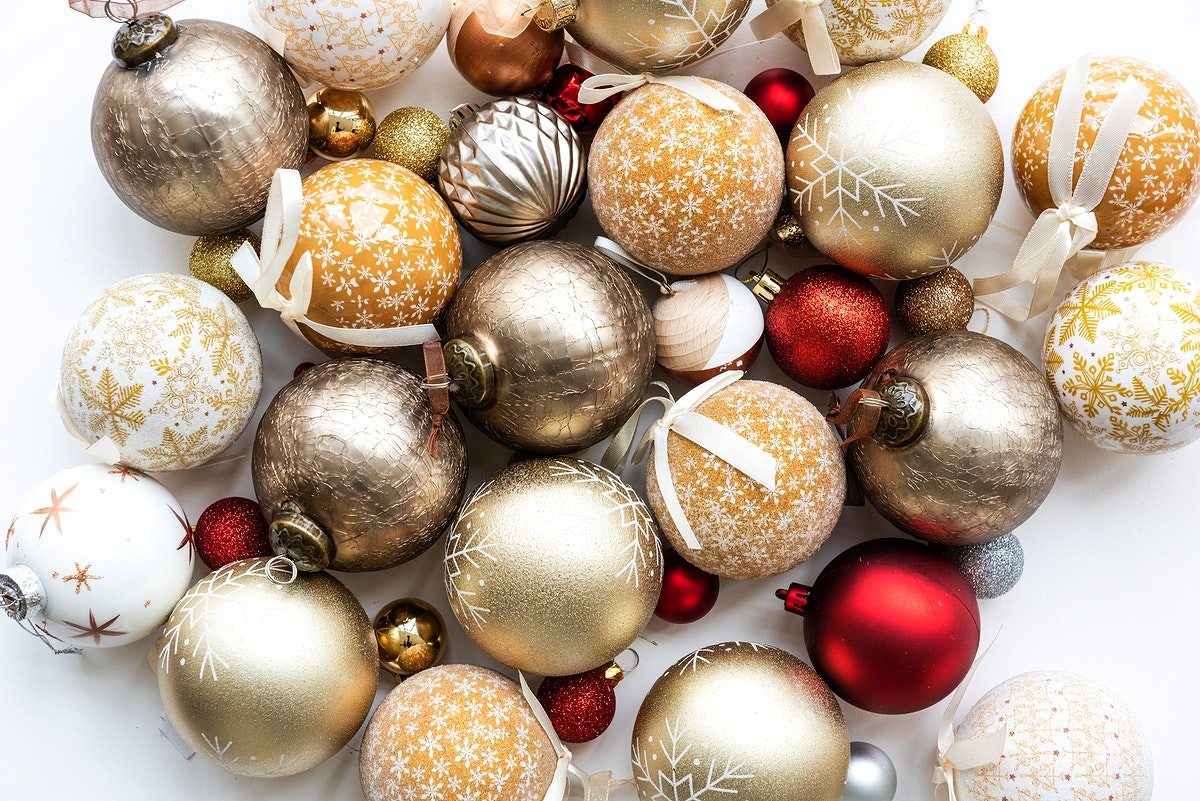 Festive red and golden shimmering bauble collection