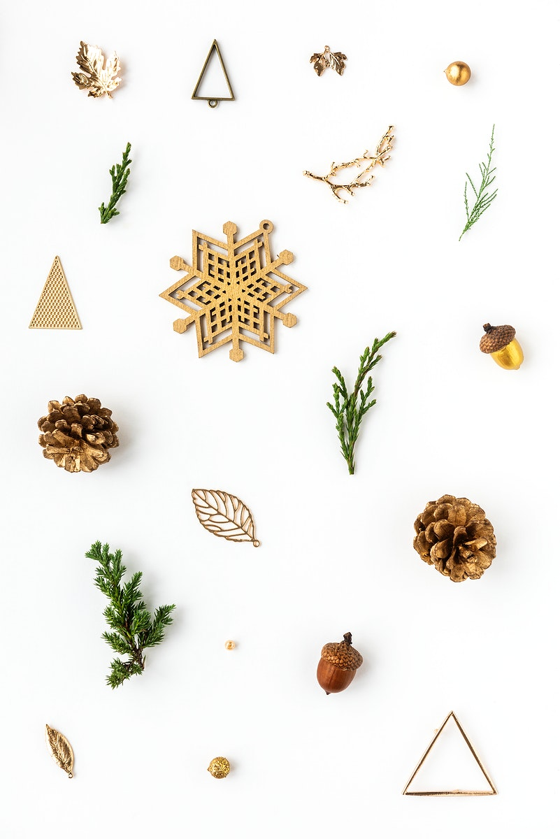 Golden Christmas ornaments on a white background