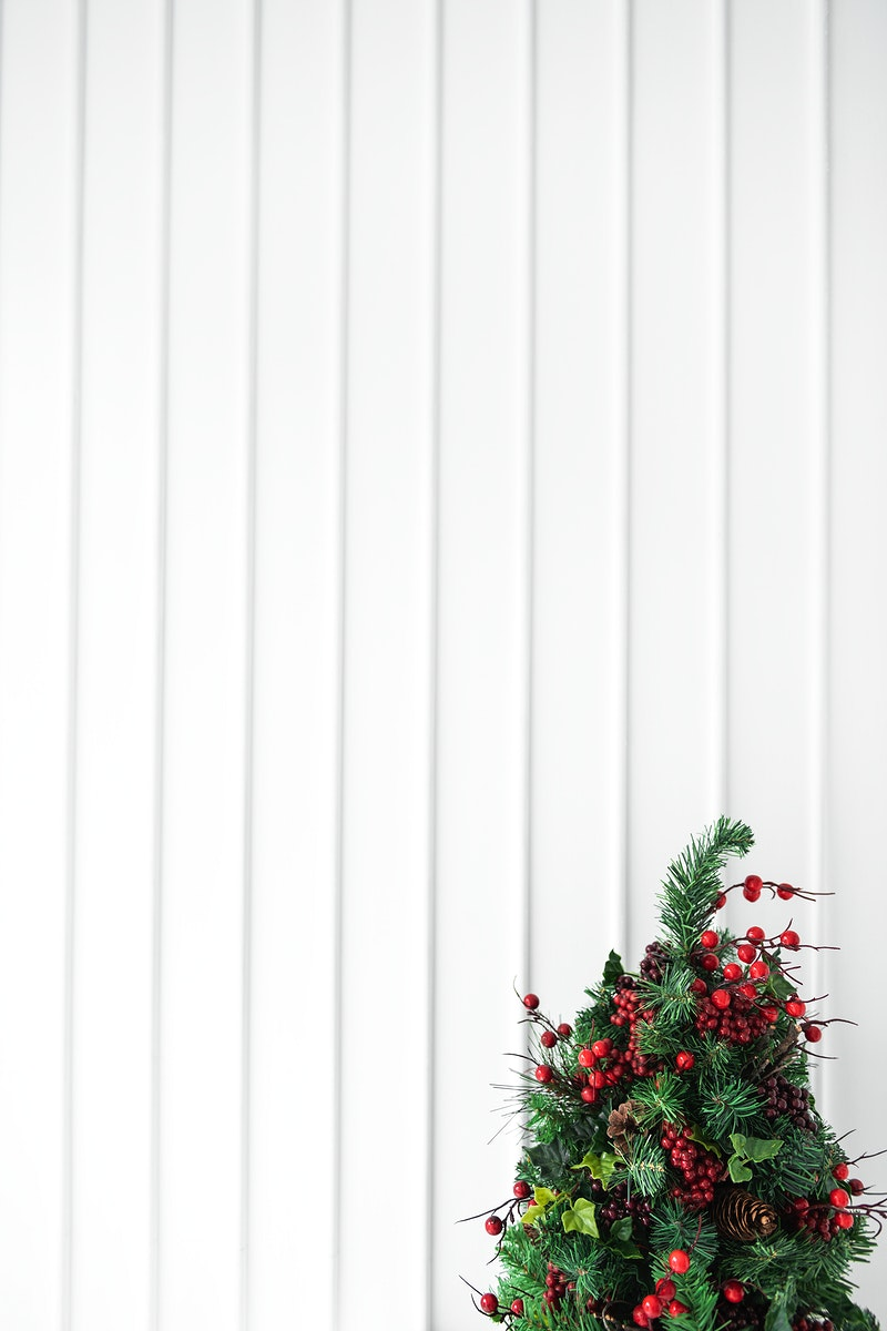 Christmas tree decoration with a white wall paneling