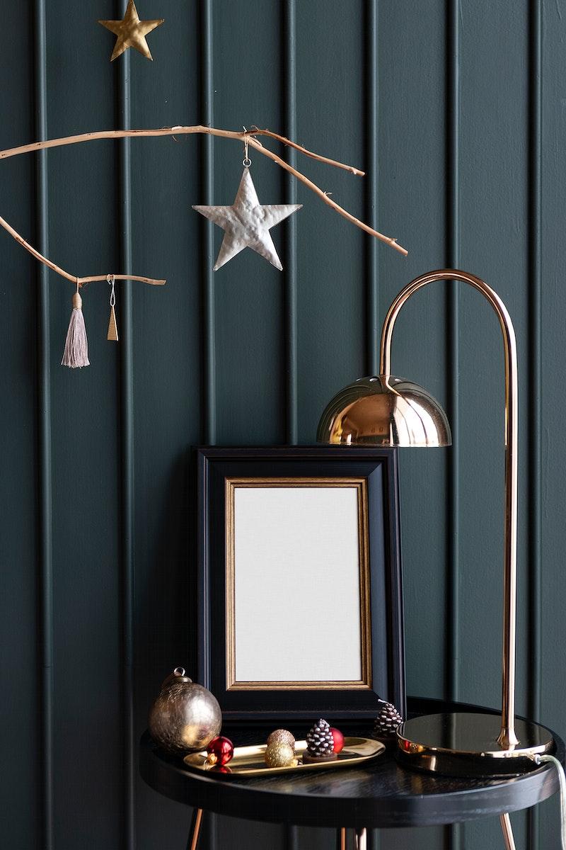 Festive photo frame on table