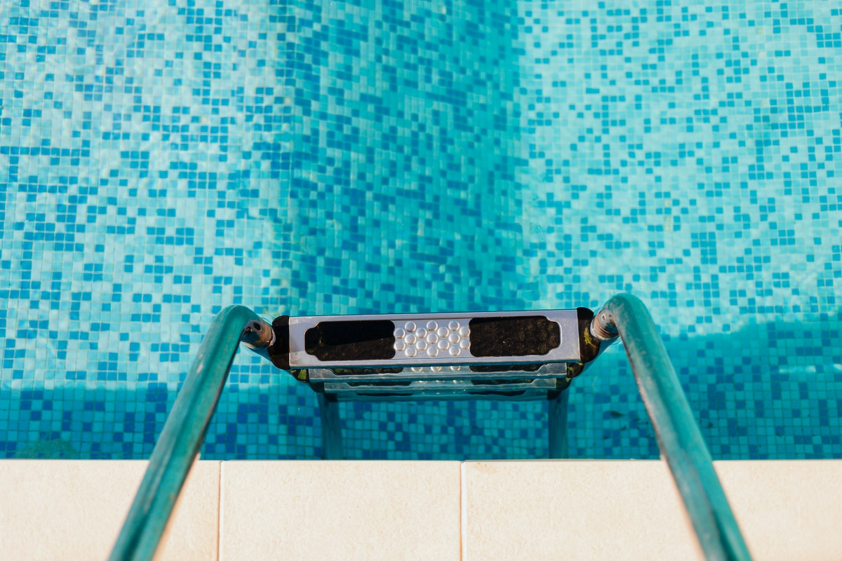 Aerial view of a swimming pool ladder