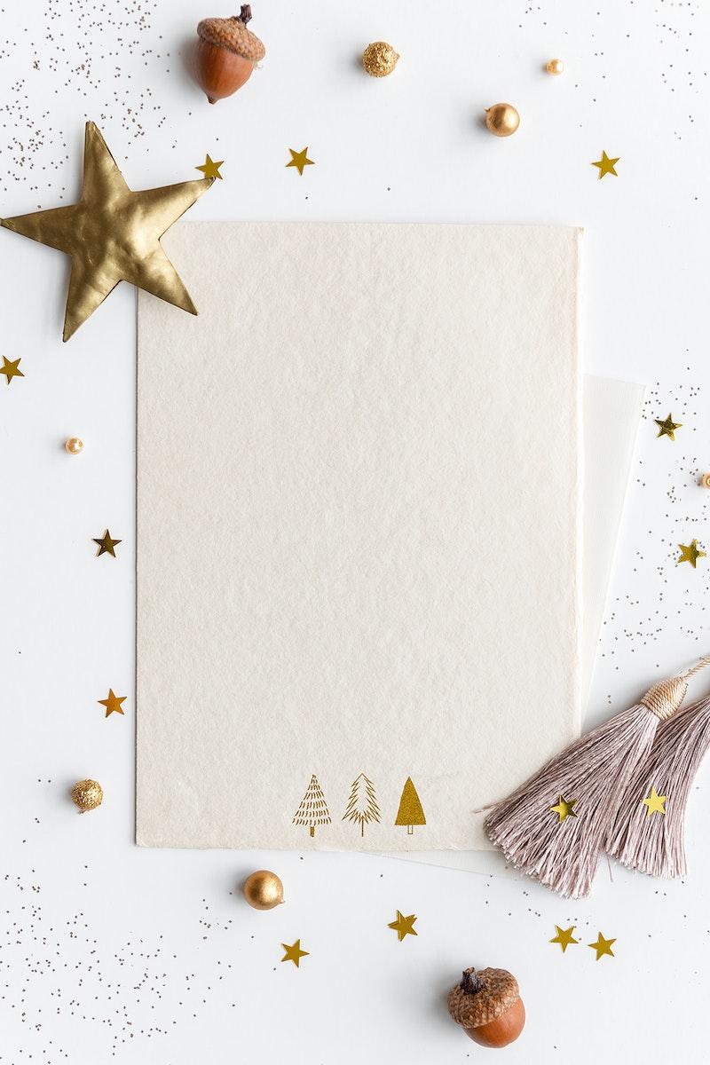 Blank festive Christmas paper mockup