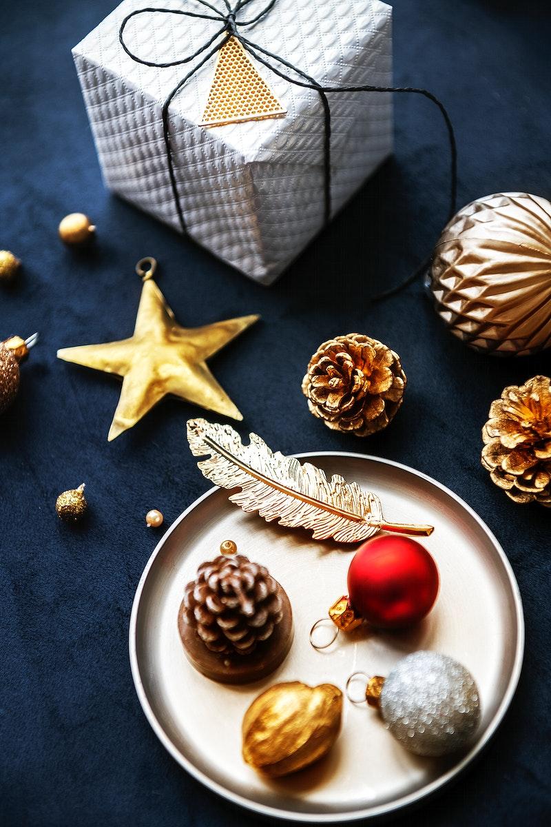 Festive Christmas ornaments on a blue background