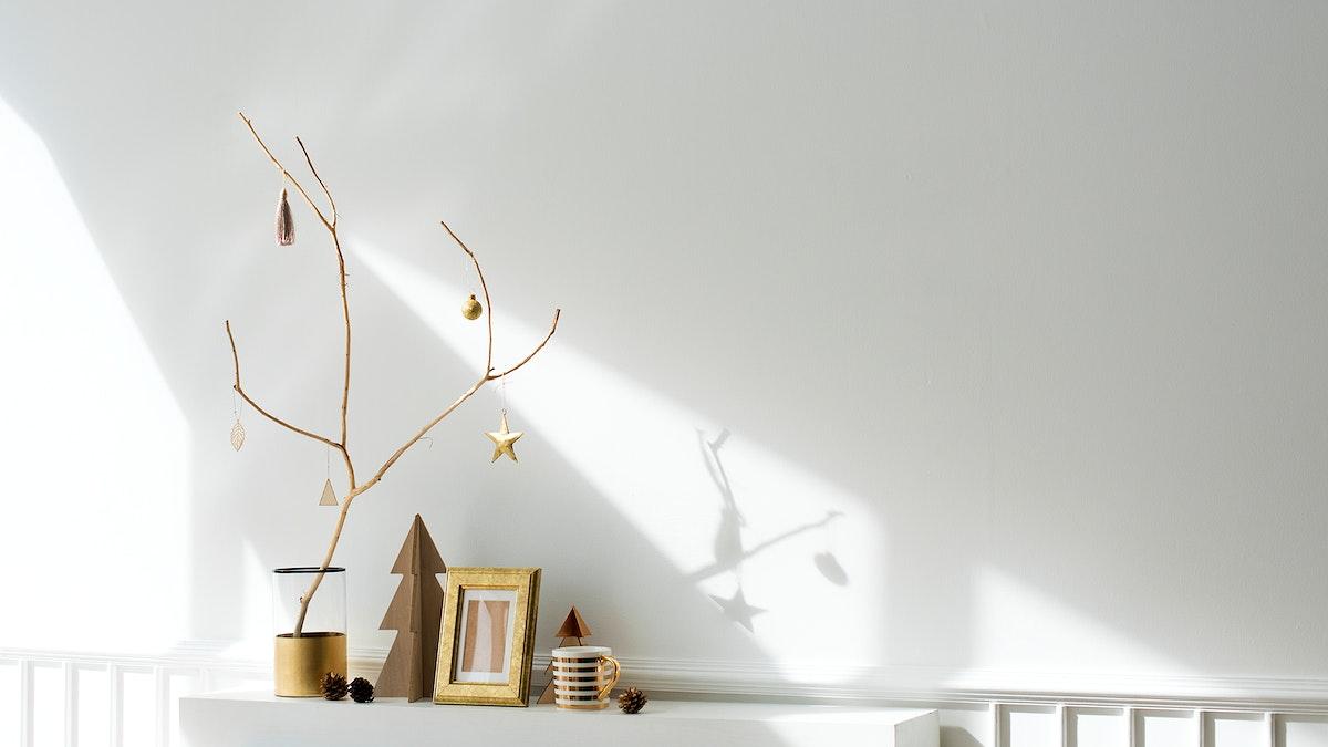 Golden festive Christmas frame decor