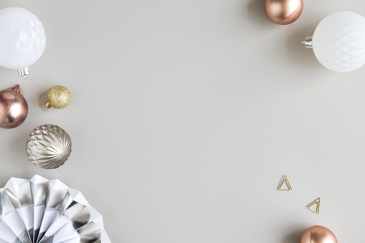 Festive Christmas ornaments frame decor