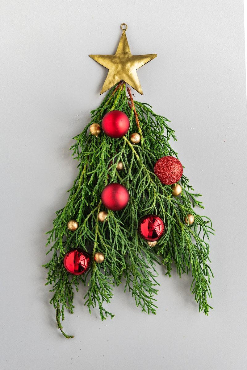 Festive Christmas tree with a star