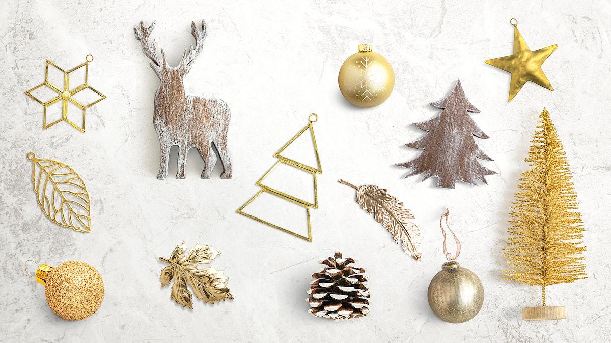 Festive golden Christmas ornament collection