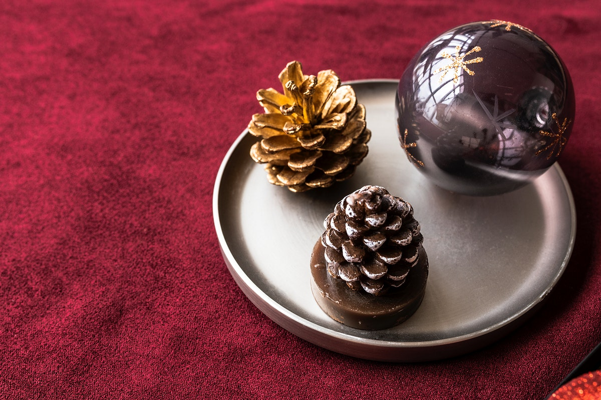 Festive Christmas ornaments on a tray
