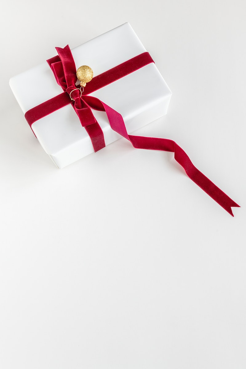 Aerial view of gift box