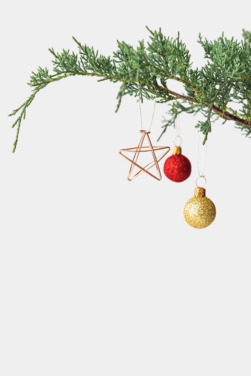 Festive shimmering baubles on a Christmas tree