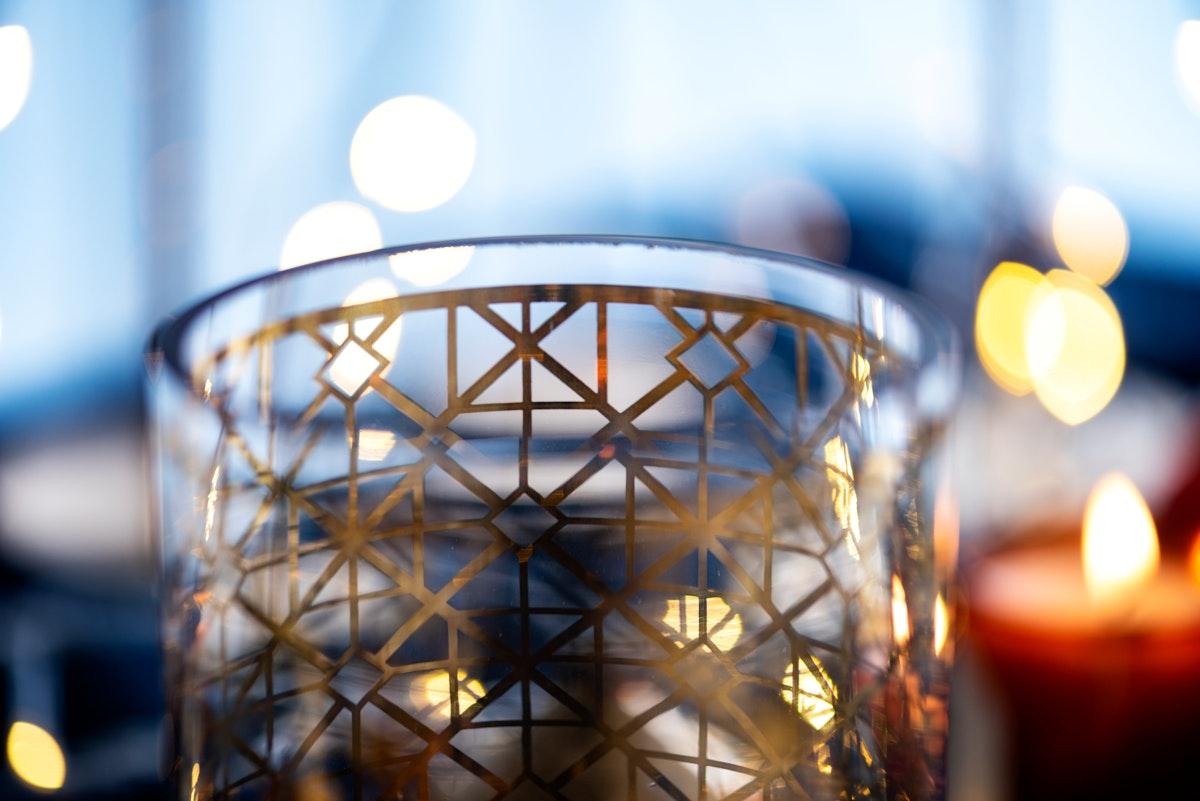 Festive golden design Christmas glass