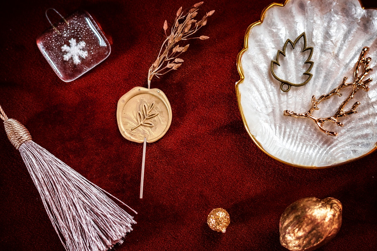 Festive Christmas ornaments on a red background