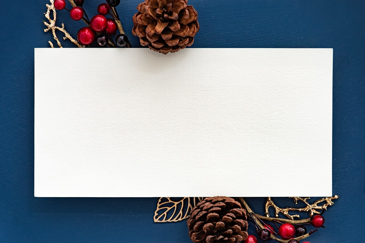 Festive blank Christmas frame mockup