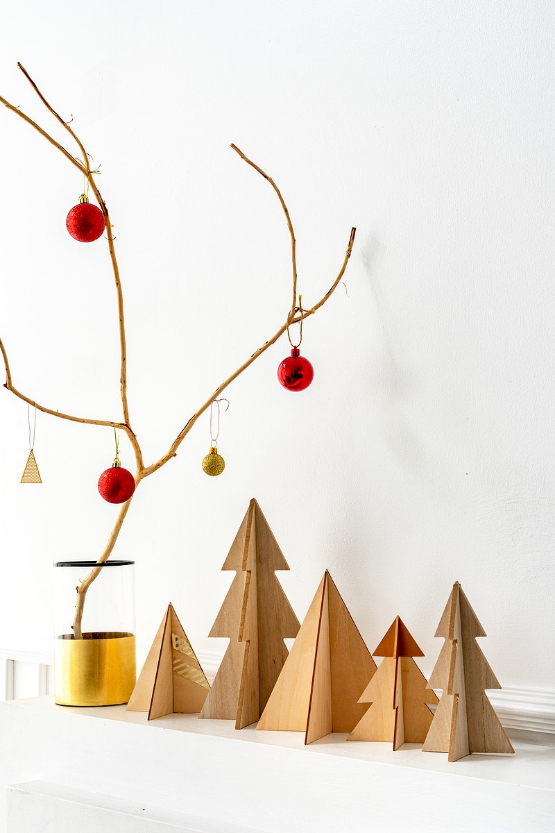 Baubles on a branch in a vase