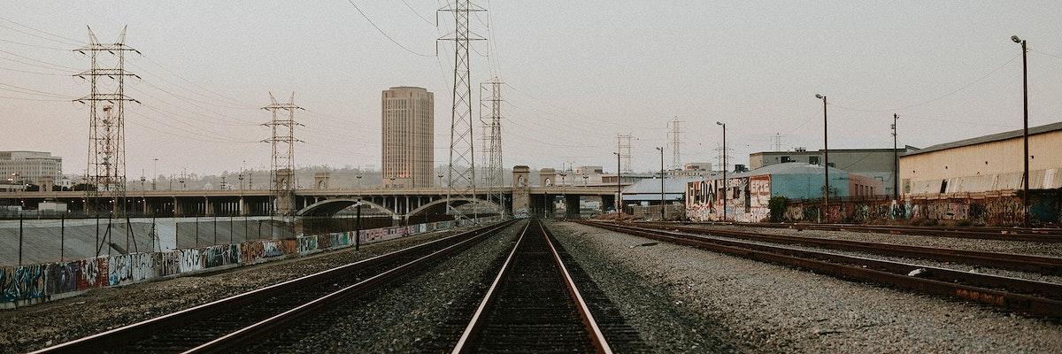 Railroad traks in Los Angeles, California